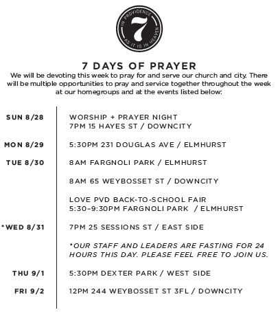 7 days schedule screen